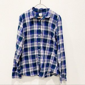 J. crew Plaid Flannel Button Down Long-Sleeve Top